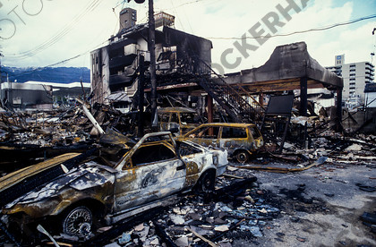 mhc-ghe 195 s4-35   Burnt out cars and buildings a week after the quake struck, Higashinada   Keywords: earthquake, kobe, japan, fire, destruction, devastation, higashinada